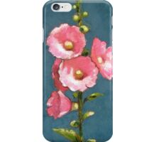 Pink Hollyhocks in Oil Pastel, Flowers, Garden iPhone Case/Skin