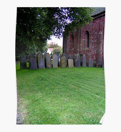Sheltered grave stones Poster