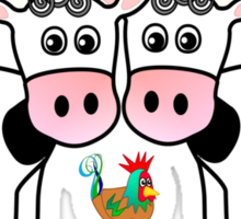 Two cows and a rooster Sticker