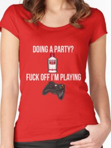 Doing a party? Fuck off i'm playing. Xbox White font Women's Fitted Scoop T-Shirt