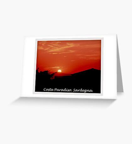 Costa Paradiso sunset. Sardinia.Italy.Brown Sugar 2003. Greeting Card