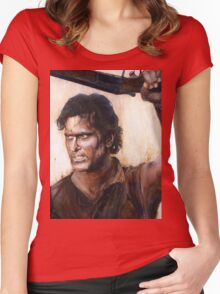 Bruce Campbell V.S Army of Darkness Women's Fitted Scoop T-Shirt