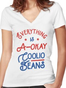 Everything Is A-Okay Coolio Beans Women's Fitted V-Neck T-Shirt