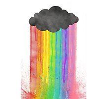 """Rainbow Rain"" watercolour design Photographic Print"