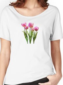 Pink Pastel Tulips Women's Relaxed Fit T-Shirt
