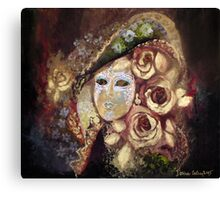 Mask with roses Canvas Print