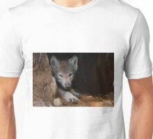 Timber Wolf Pup in Den Unisex T-Shirt