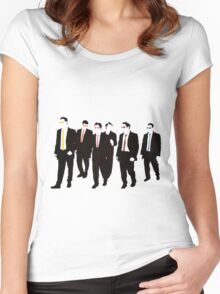 Reservoir Dogs with colored ties and glasses Women's Fitted Scoop T-Shirt