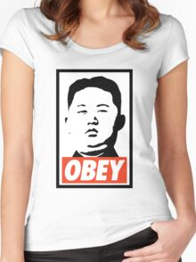 Obey Kim Jong Un Women's Fitted Scoop T-Shirt