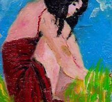 Woman in Red sittling in the Grass by Ashley Huston
