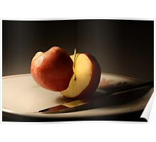 Floating apple halfs Poster