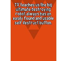 TV teaches us the big ultimate destroying robot always has an easily found and usable self destruct button. Photographic Print