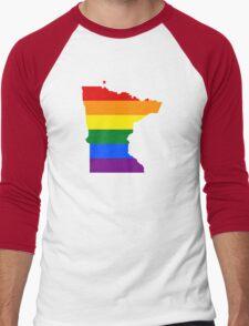 LGBT Flag Map of Minnesota  Men's Baseball ¾ T-Shirt