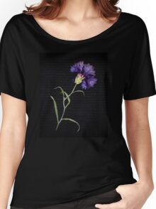 Withered Cornflower Flower In Black Women's Relaxed Fit T-Shirt