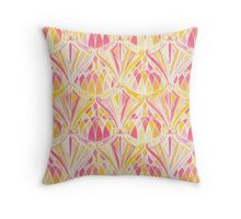 Art Deco Pattern in Pink and Orange Throw Pillow