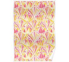 Art Deco Pattern in Pink and Orange Poster