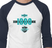 Born in 1980 (Blue&Darkgrey) Men's Baseball ¾ T-Shirt