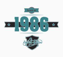 Born in 1986 (Blue&Darkgrey) Kids Tee