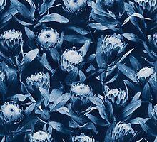 Evening Proteas - Denim Blue by micklyn