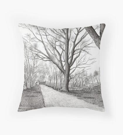 GOLDEN FROSTY TREES Throw Pillow