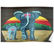 Elephants at the Garage Door Poster