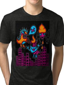 monsters in the city black Tri-blend T-Shirt