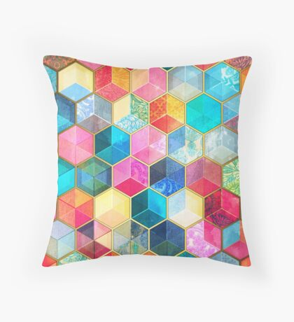 Crystal Bohemian Honeycomb Cubes - colorful hexagon pattern Throw Pillow