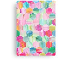 Pretty Pastel Hexagon Pattern in Oil Paint Canvas Print