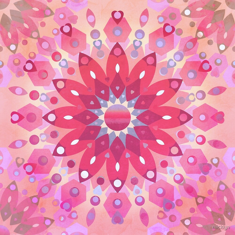 Tropical Pink Floral Mandala by micklyn