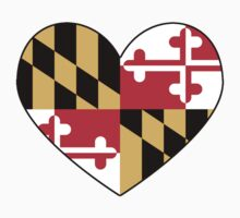 maryland flag heart - loved as sticker, now available in leggings and skirt by lordofthefries