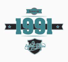 Born in 1991 (Blue&Darkgrey) Kids Tee