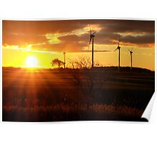 Windmill Sunrise Poster