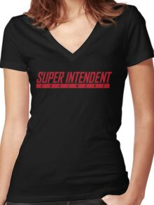 Super Nintendo Chalmers Women's Fitted V-Neck T-Shirt