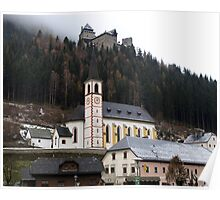 Church & Midieval Castle above -( Burg Finstergrün ) Poster