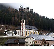 Church & Midieval Castle above -( Burg Finstergrün ) Photographic Print