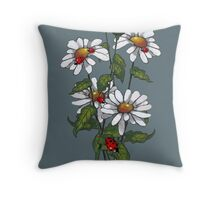 Daisies and Ladybugs, Floral, Wildlife, Illustration Throw Pillow