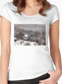 Brown brushstrokes on white Women's Fitted Scoop T-Shirt