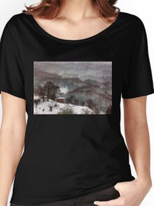 Brown brushstrokes on white Women's Relaxed Fit T-Shirt