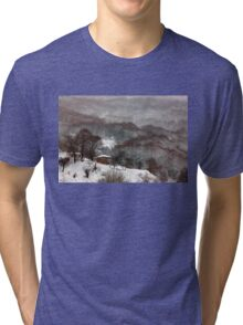 Brown brushstrokes on white Tri-blend T-Shirt