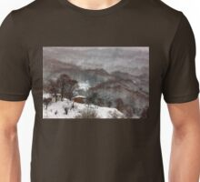 Brown brushstrokes on white Unisex T-Shirt