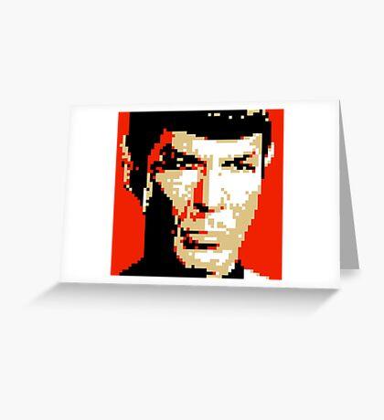 Pixel-ated 8-bit Star Trek Spock Greeting Card