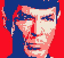 Pixel-ated 8-bit Star Trek Spock Pink/Blue by miffed