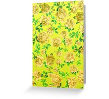 Vintage Yellow Roses on Neon Yellow Background Greeting Card
