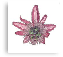 Natural Form Watercolour - Passion Fruit Flower Canvas Print