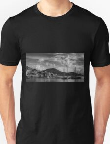 Yachts at the small pier B&W Unisex T-Shirt