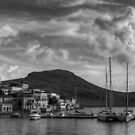 Yachts at the small pier B&W by Tom Gomez