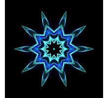 Blue Flame Kaleidoscope 01 Photographic Print