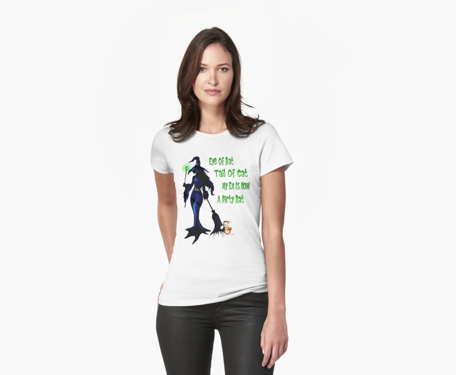 WITCH and Rat Halloween Shirt by Lotacats