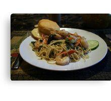 Spicy Shrimp and Bok Choy Noodle Bowl Canvas Print