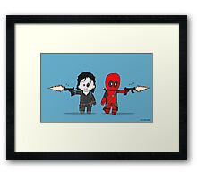 Chibi Deadpool and Domino  Framed Print
